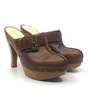 ENZO ANGIOLINI BROWN LEATHER PLATFORM MULE CLOGS